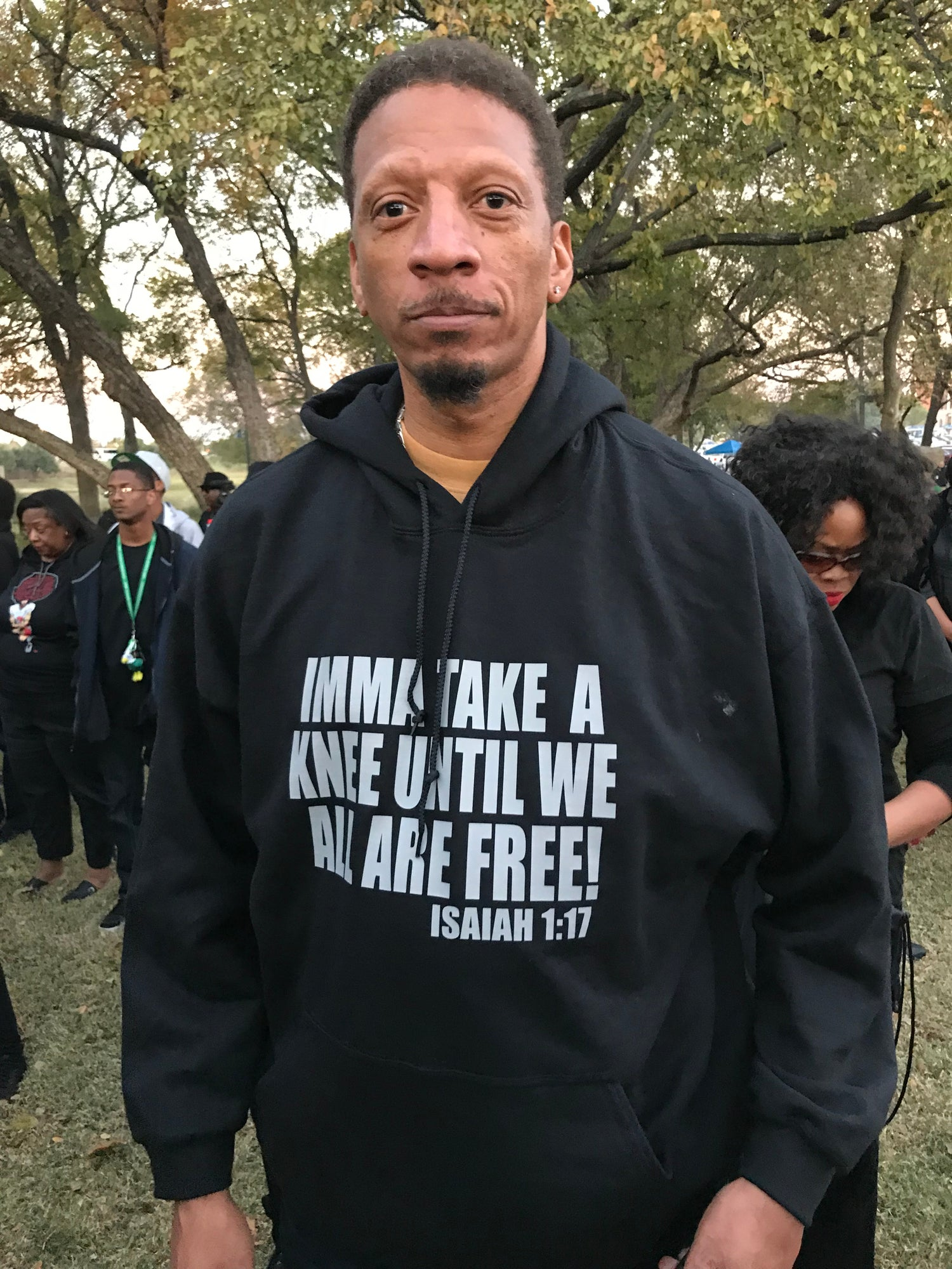 Image of MEN'S IMMA TAKE A KNEE UNTIL WE ALL ARE FREE ISAIAH 1:17 IN HOODIES & T-SHIRT