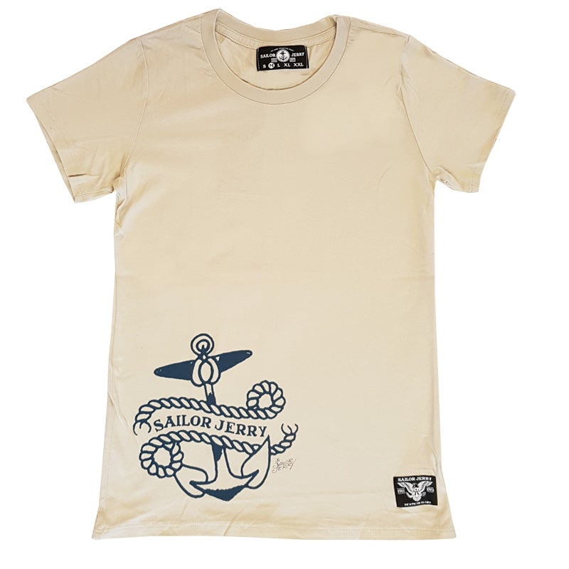 Image of Sailor Jerry Women's Tee - Side Piece, Silver Grey
