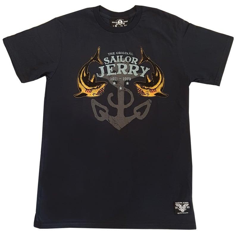 d2044d1080 Sailor Jerry Men's T-shirt - Twice Bitten, Two Sharks - Navy