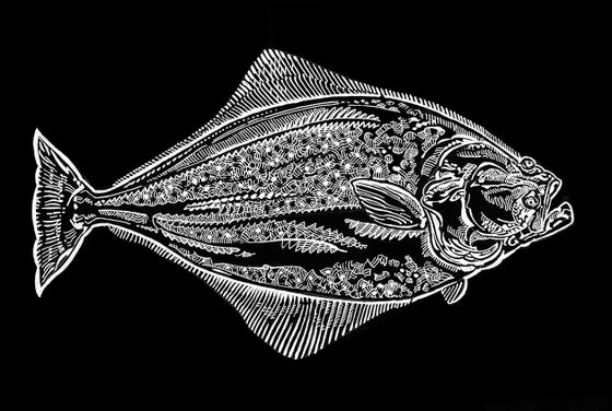 Image of HALIBUT BLACK ON WHITE