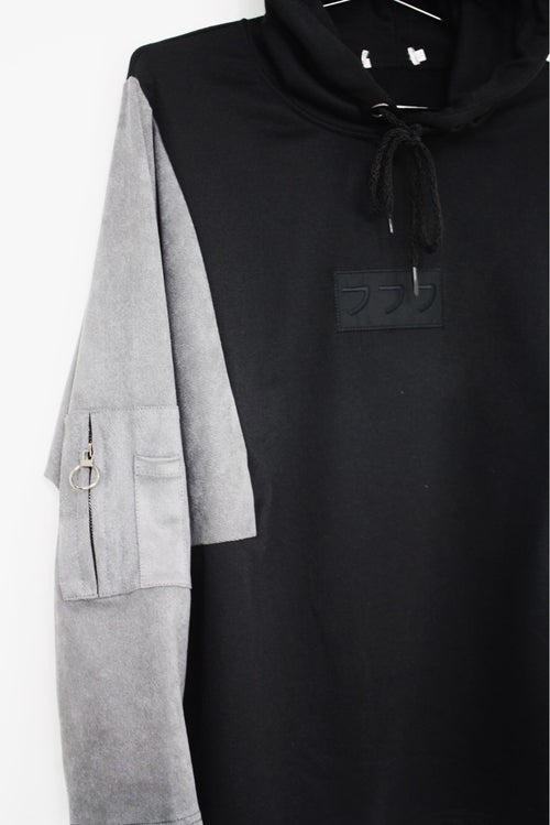 Image of DROP SHOULDER PULLOVER HOODIE - SAGE / CONCRETE / BLACK