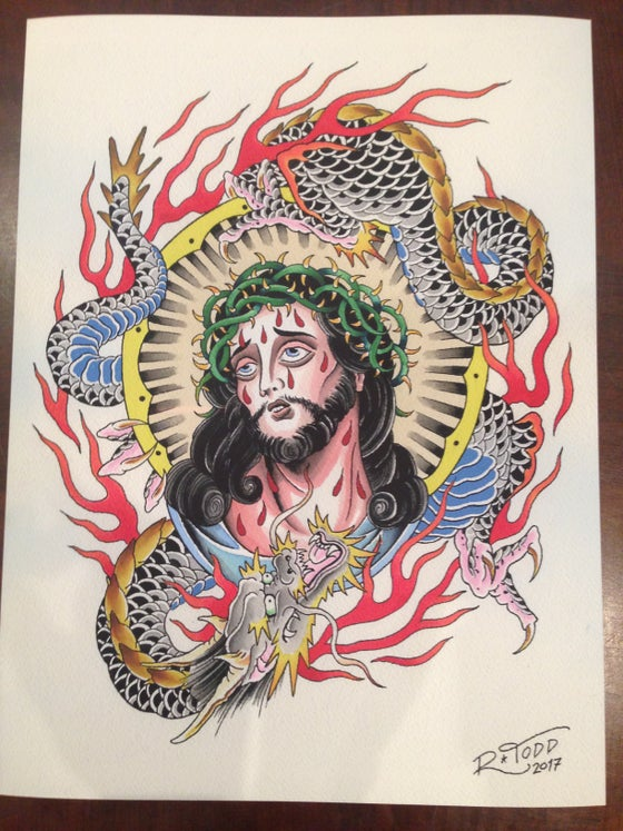 Image of Jesus/Dragon Print By Reuben Todd