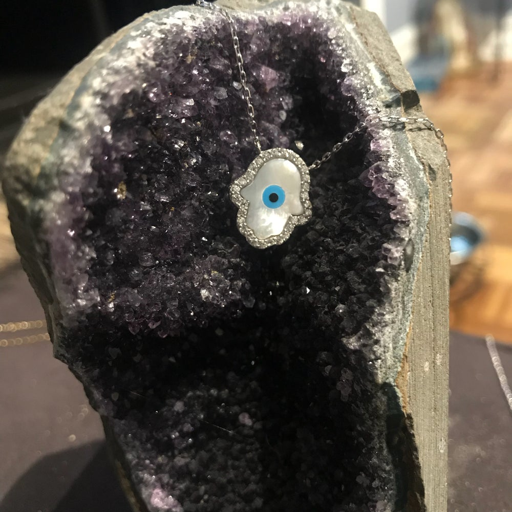 Image of CZ mother of pearl Hamsa evil eye necklace