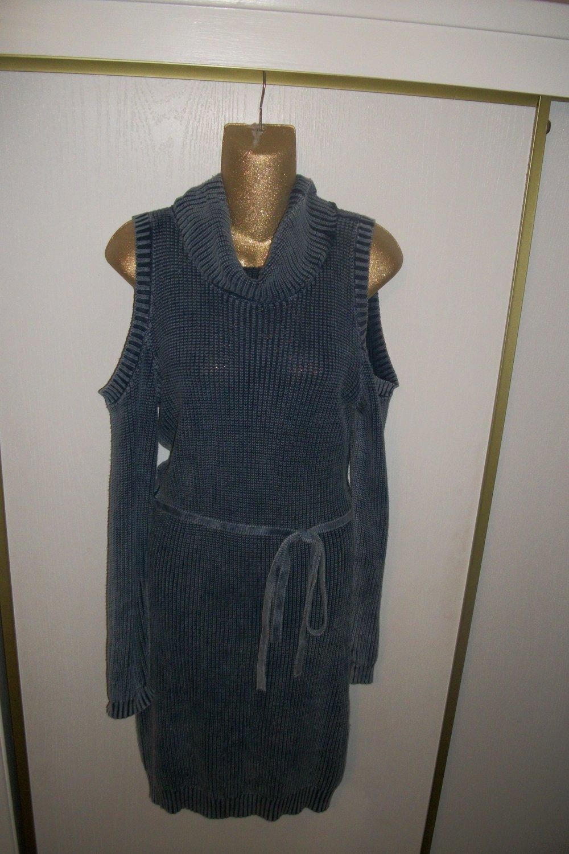 fcbdf130f4 ... Image of Denim Blue Cold Shoulder knit Sweater Dress with Cowl neck    tie waist ...