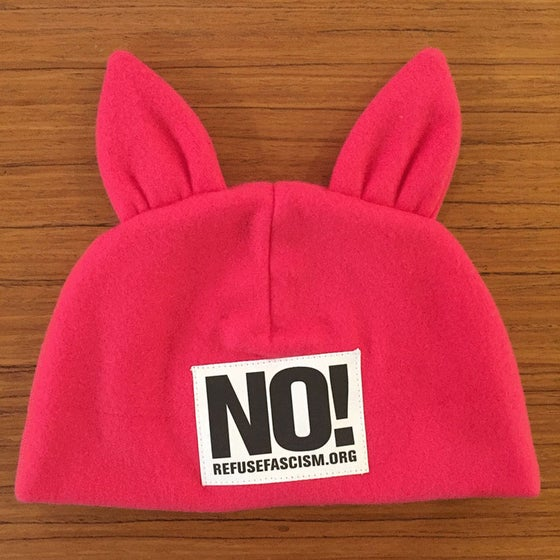 Image of Pink Fleece RefuseFascism.org Hat