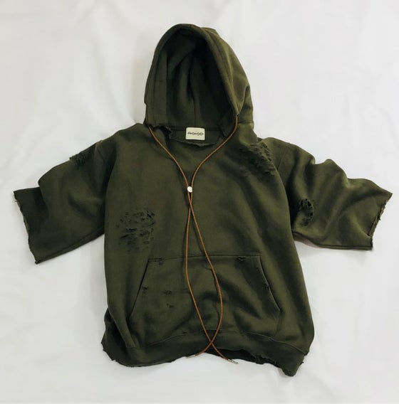 Image of MEN'S OLIVE BOLO TIE HOODIE