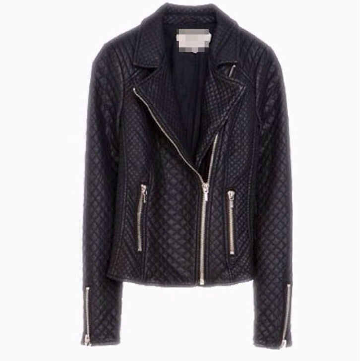 Image of GLAMOURFOXX LUXE Faux leather quilted fitted biker jacket
