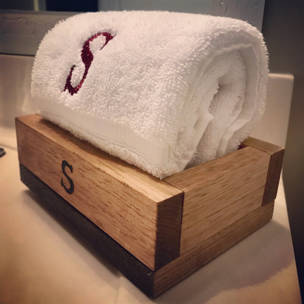 Image of Bathroom Caddy with Monogrammed Hand Towel