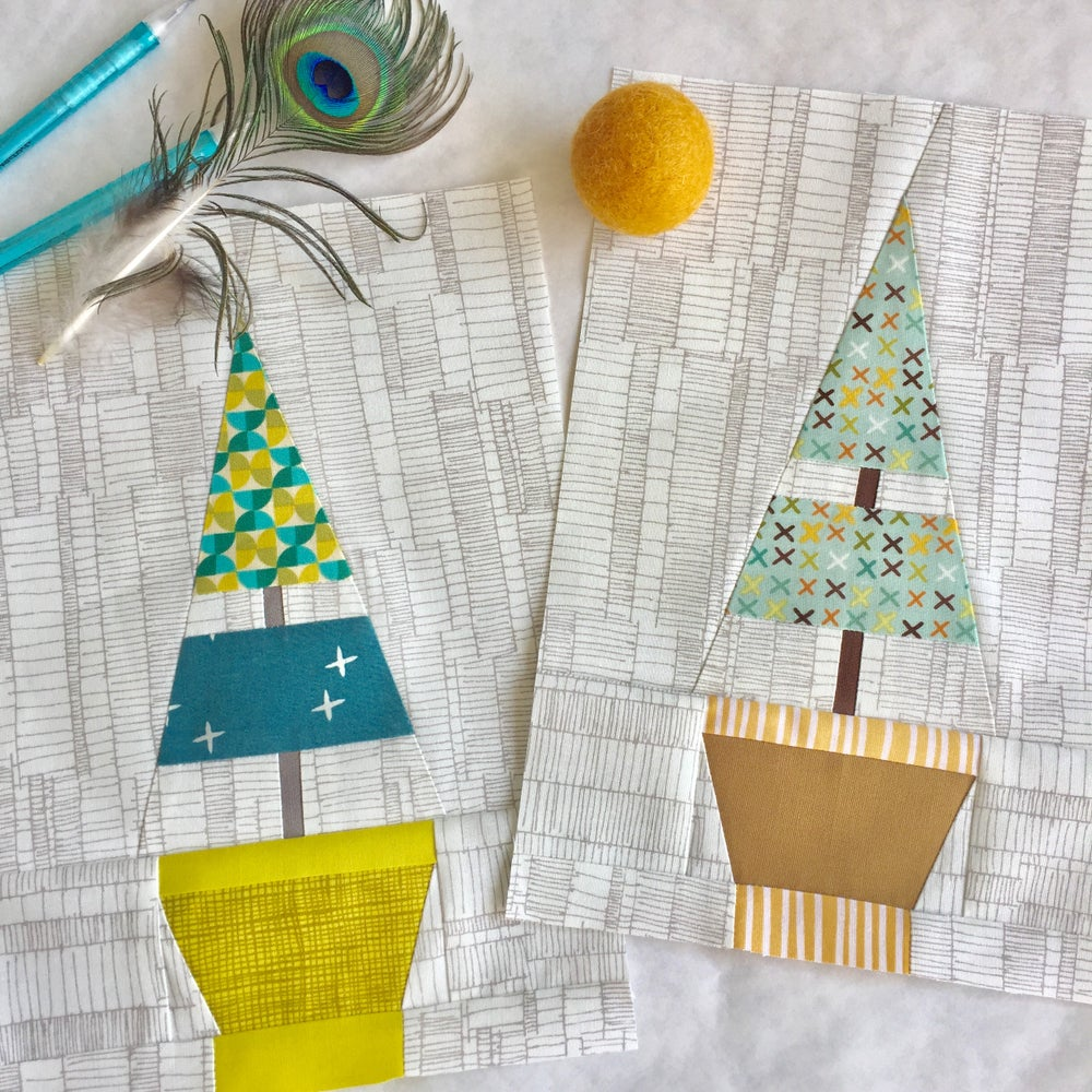 """Image of Holiday Topiary Quilt Block - 7"""" x 10"""""""