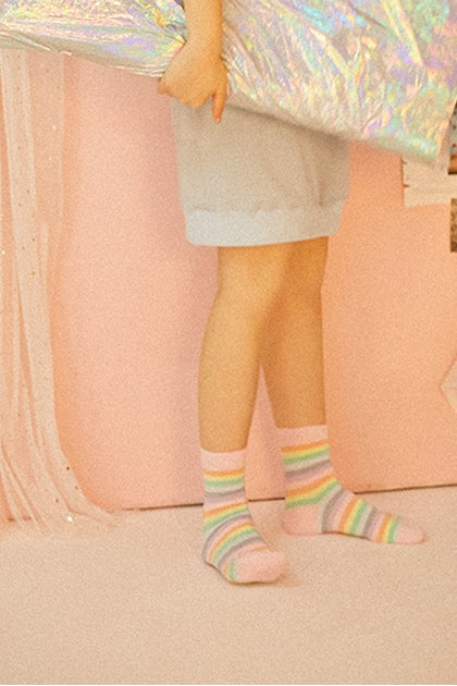 Image of PASTEL RAINBOW STRIPED SOCKS