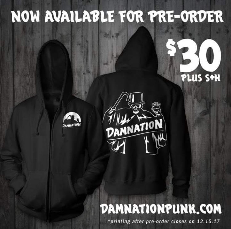 "Image of Damnation ""Shroud"" zip up hoodie pre-order"
