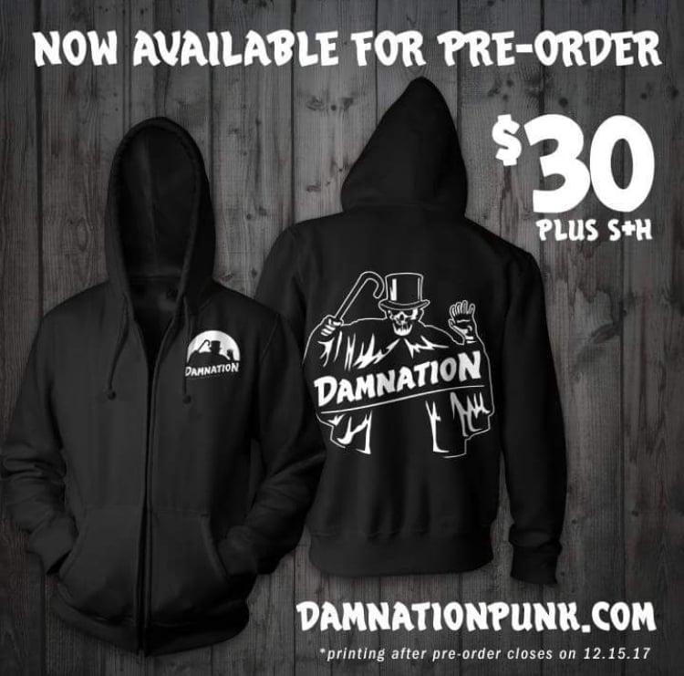 """Image of Damnation """"Shroud"""" zip up hoodie pre-order"""