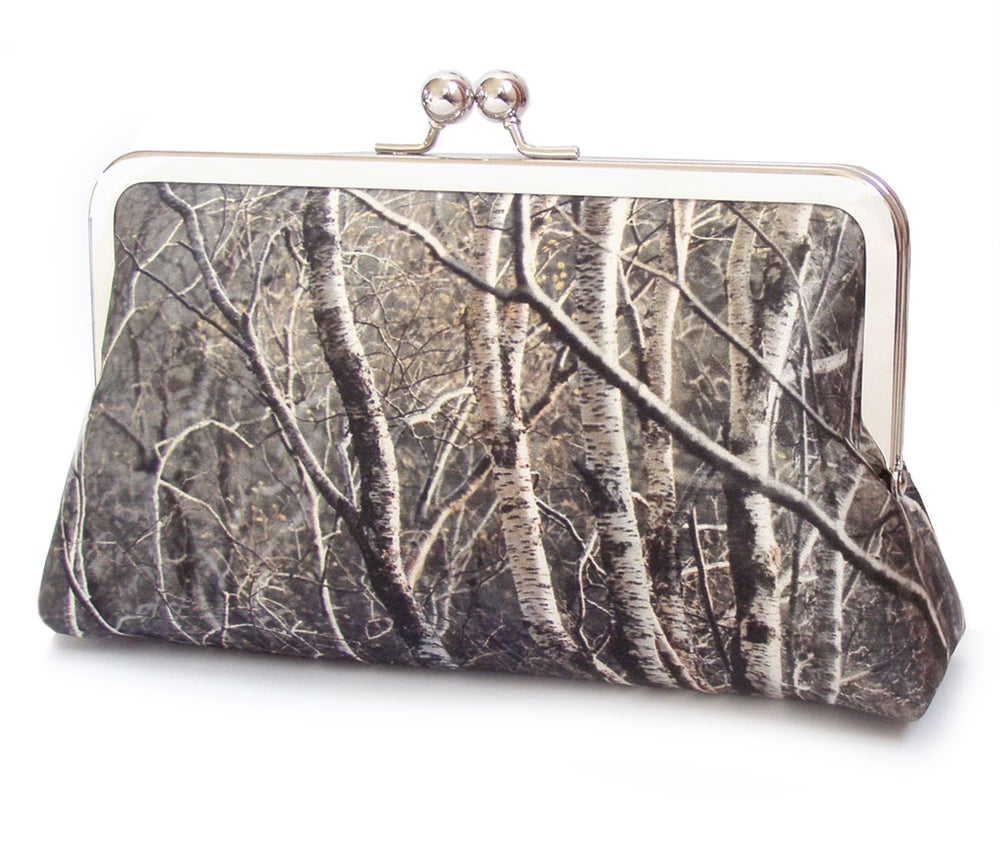 Image of Silver birch trees clutch bag