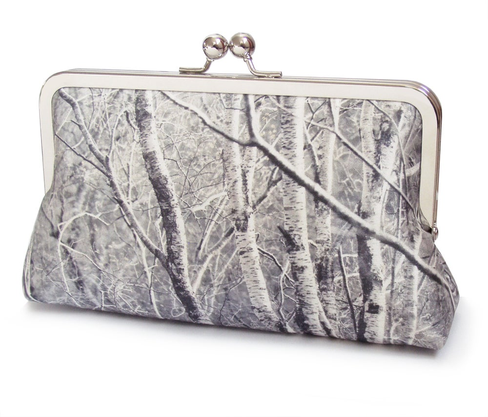 Image of Silver birch silk clutch bag