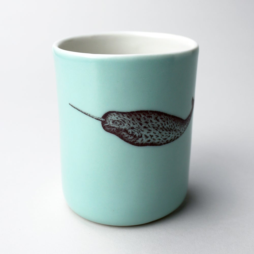 Image of 10oz tumbler with narwhal,  aqua