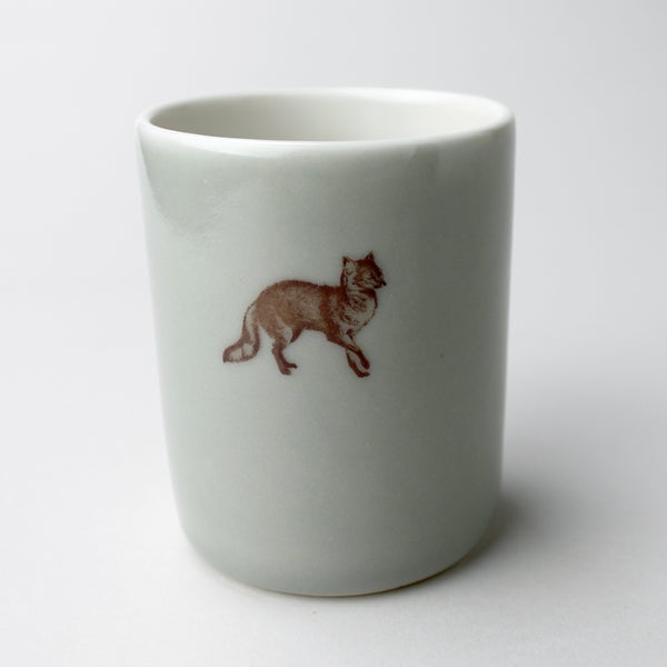 Image of 10oz tumbler with fox,  sage
