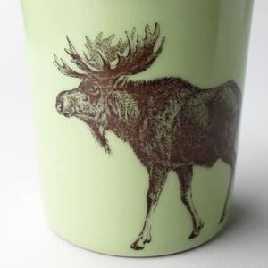 Image of 16oz tumbler with moose, avocado