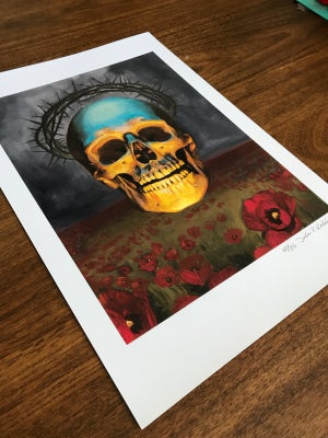 Image of Skull and poppies Print 13x19 inch