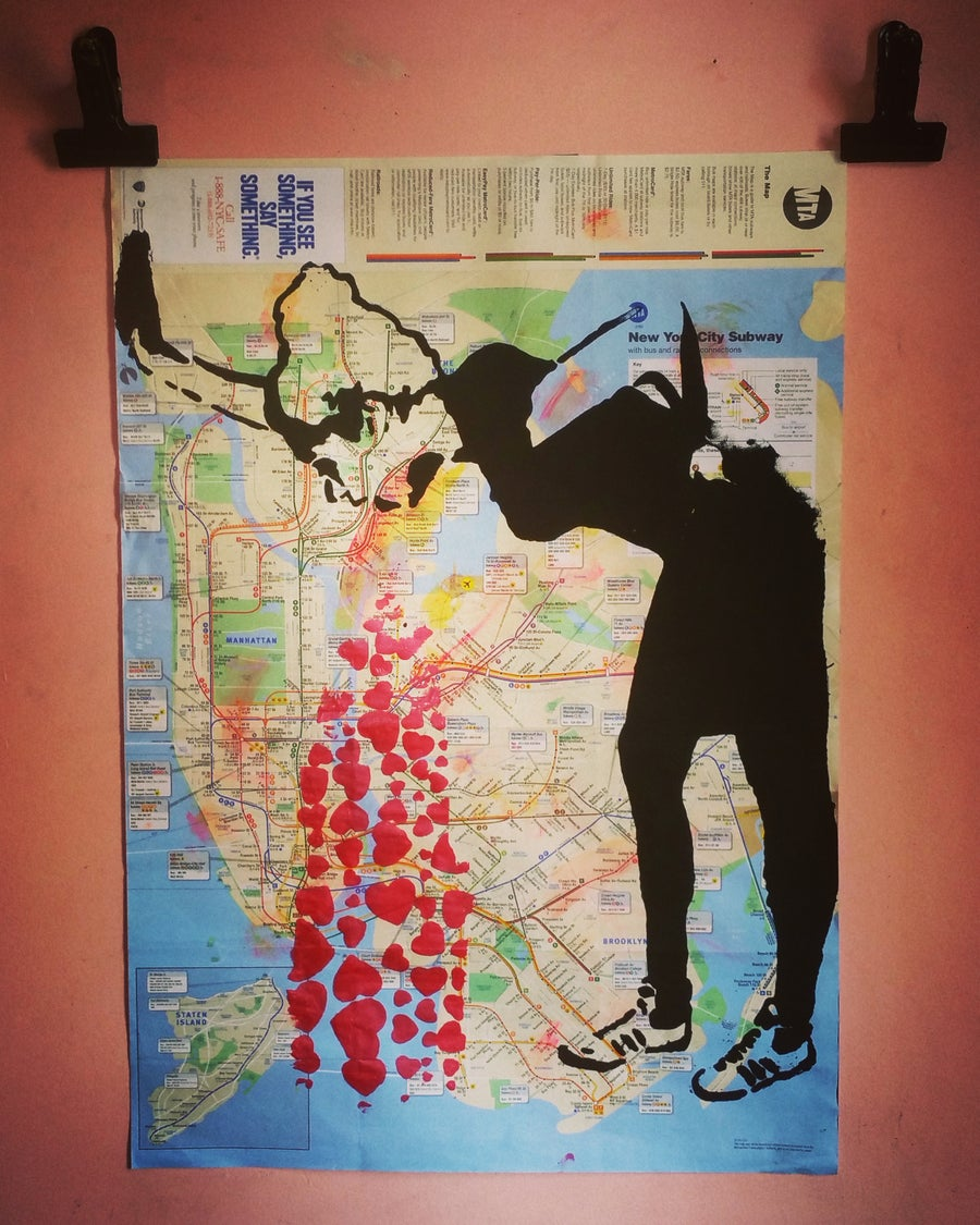 "Image of ""Banksy"". Original silkscreen on New York City Bike Map."