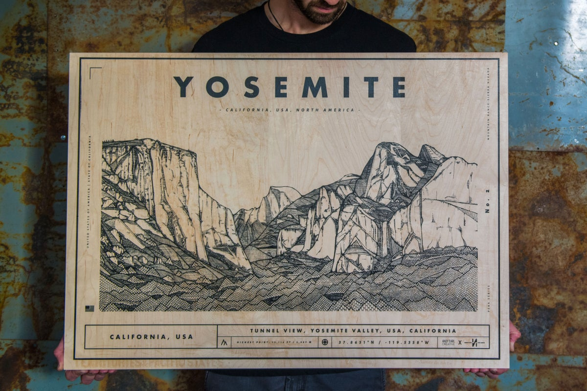 Image of YOSEMITE SCREEN PRINT ON WOOD