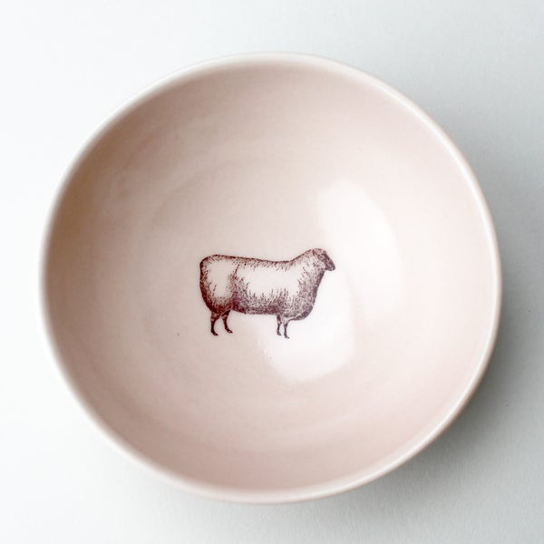Image of roly poly bowl with sheep, rose