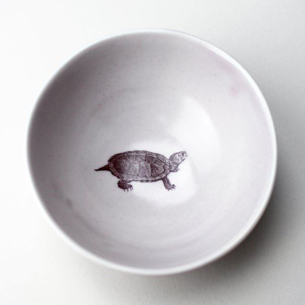 Image of roly poly bowl with turtle, lilac