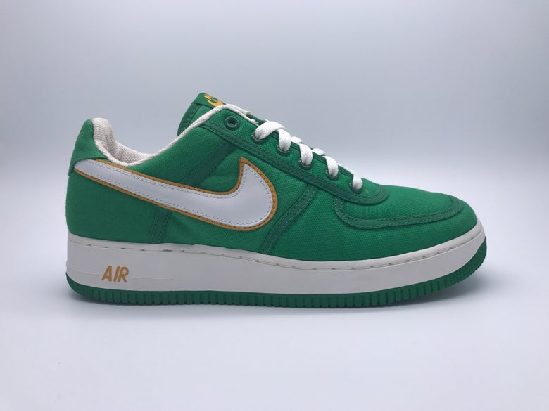 e707489948775 Image of NIKE AIR FORCE 1 CANVAS (CLASSIC GREEN WHITE-SPORT GOLD)