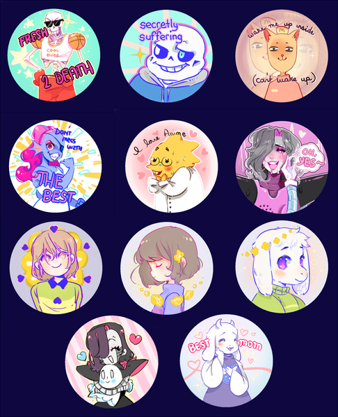 "Image of Undertale 2.25"" Buttons"