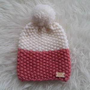 Image of Colour Block Chunky Pompom Hat