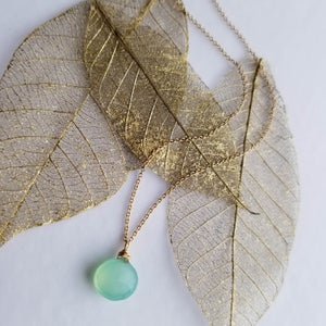 Image of Simple Aqua Chalcedony Necklace