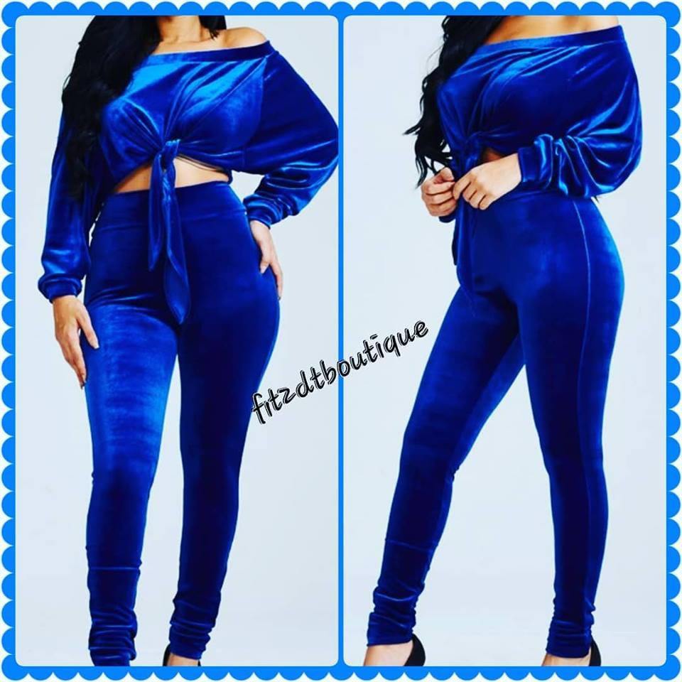 Image of Royal Blue 2 pc Velvet Set
