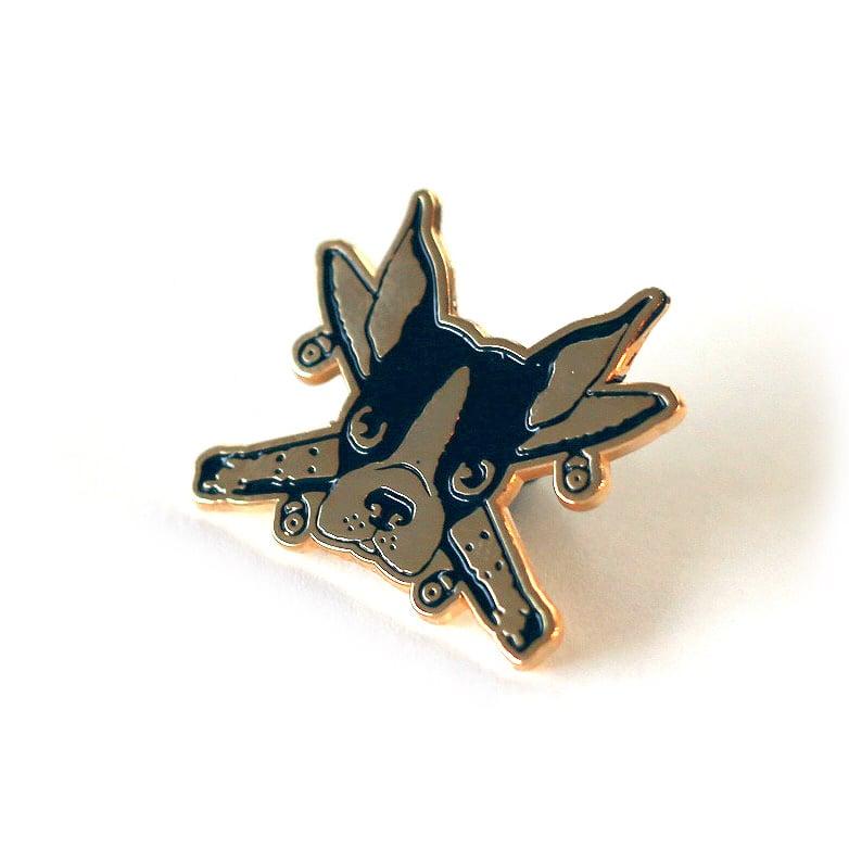 """Image of Spike Pirate Gold pin 1"""" enamel pin"""