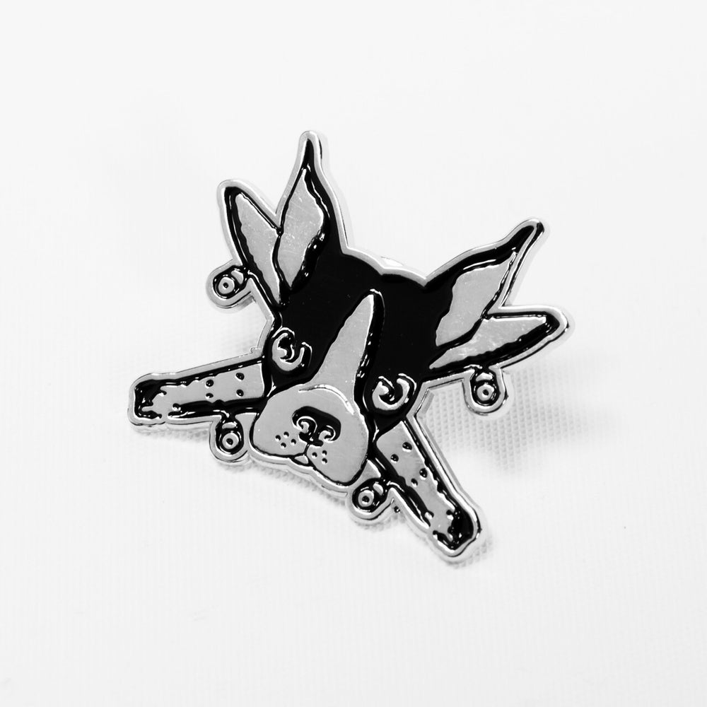 Image of Spike pirate original silver enamel pin