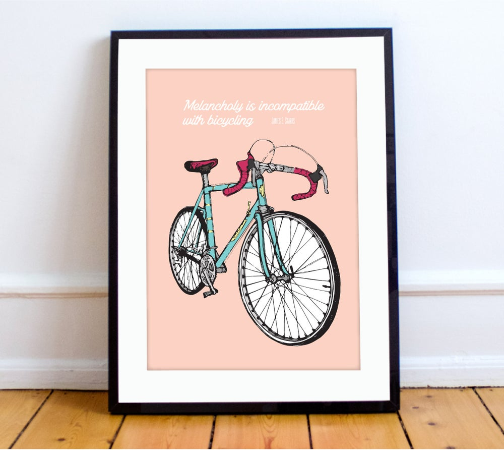 Image of Pink bike print - A4