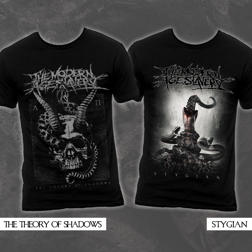 "Image of ""The Theory Of Shadows"" & ""Stygian"" Tees"