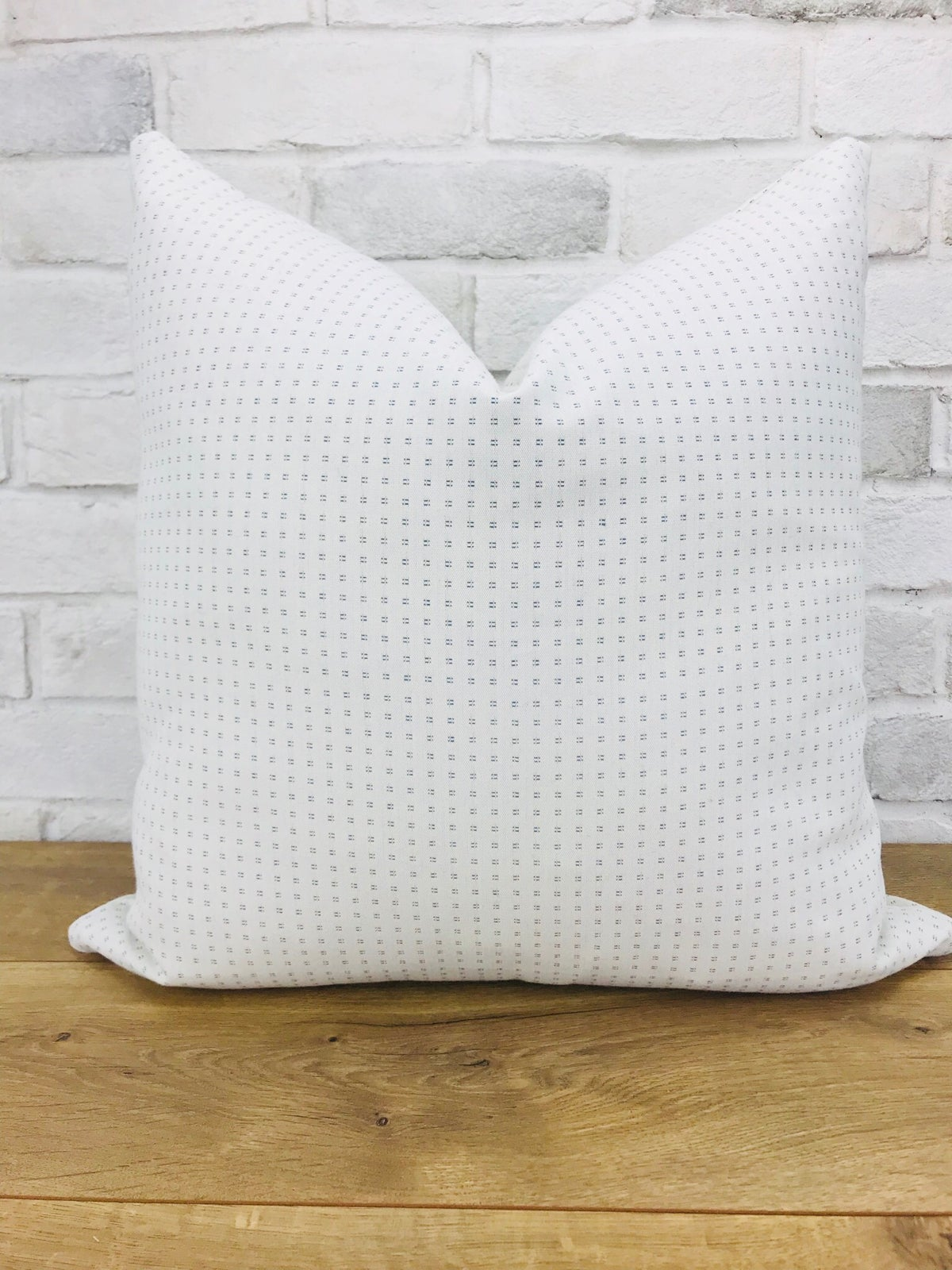 Image of White and blue square dot pillow cover