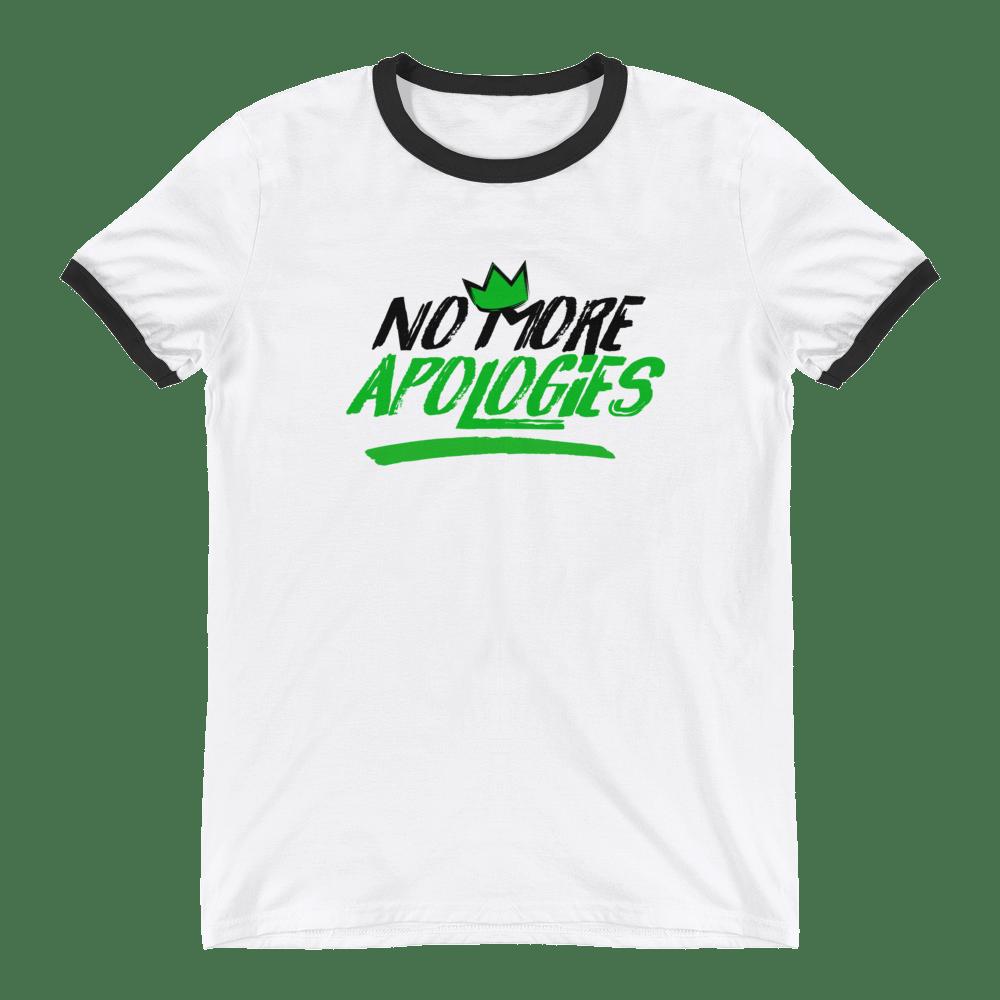 "Image of No More Apologies ""New Logo"" (Unisex Crew Neck Black Trim) Shirt"