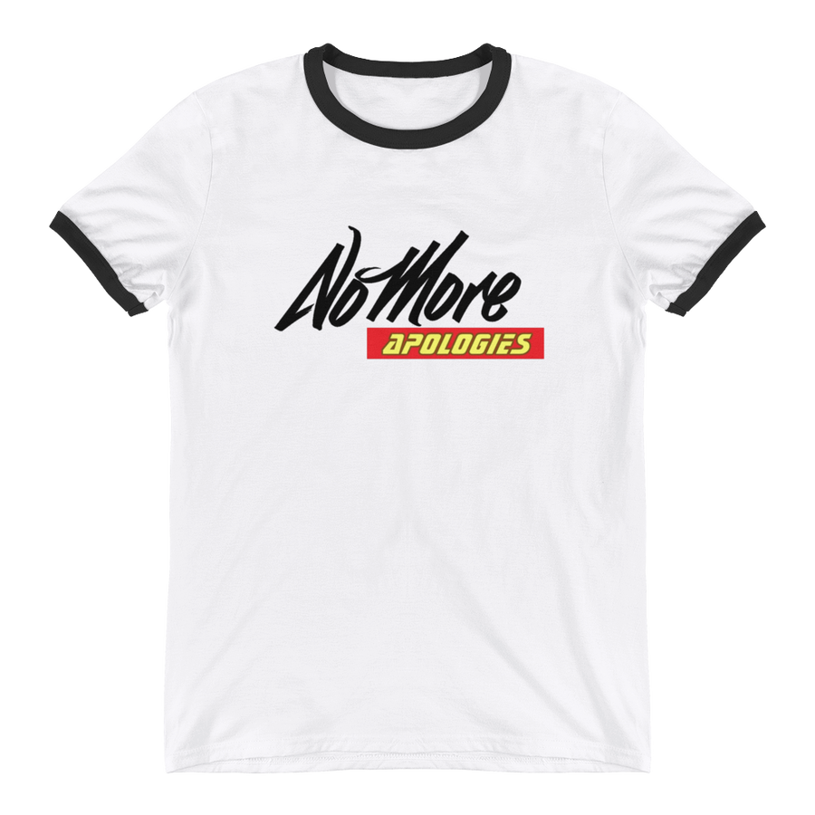 "Image of No More Apologies ""New Logo"" Unisex Crew Neck (Black Trim) Shirt"