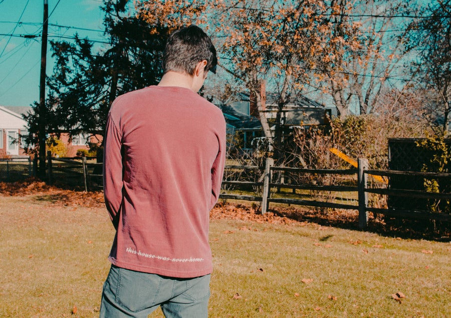 "Image of ""Mess"" Faded Maroon Long Sleeve Shirt"