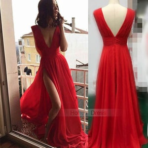 Image of Sexy Deep V-Neck Red Ruffles Chiffon Long Formal Gown With Side Slit