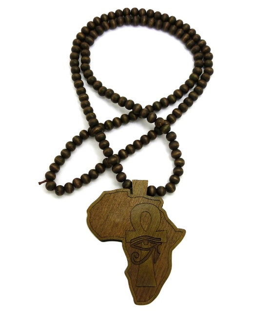 Image of BROWN WALNUT AFRICA w/ AHNK & EYE OF HERU WOOD CHAIN