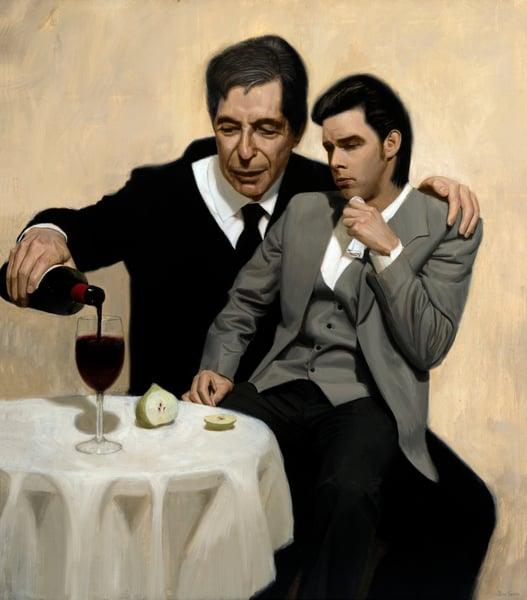 Image of 'The Influence' (Medium) Leonard Cohen Consoles Nick Cave  (51 x 45cm) $220 Australian Dollars