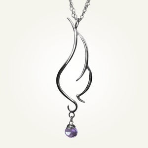 Image of Phoenix Wing Necklace with Amethyst, Sterling Silver