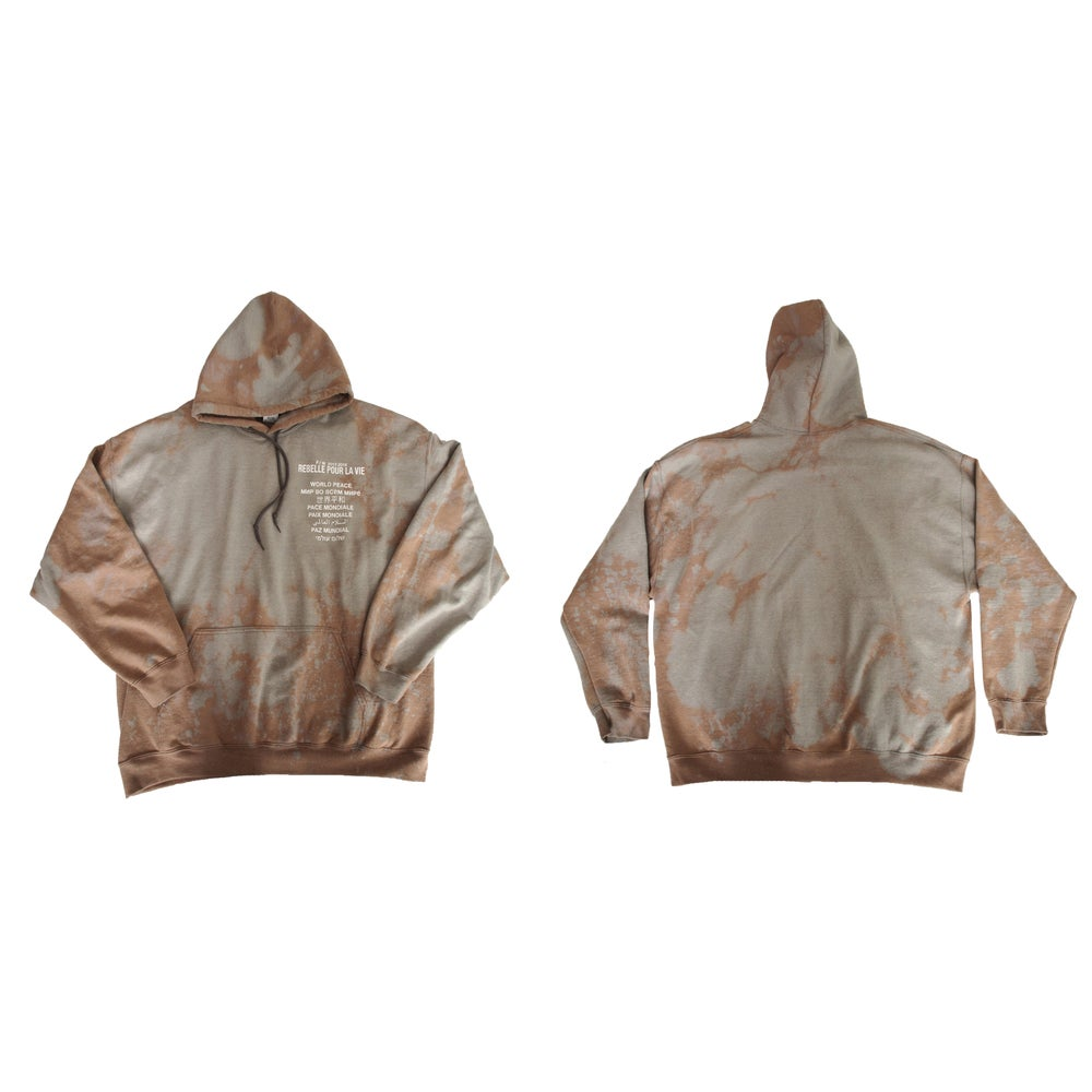 """Image of """"WORLD PEACE"""" Bleached Hoodie."""
