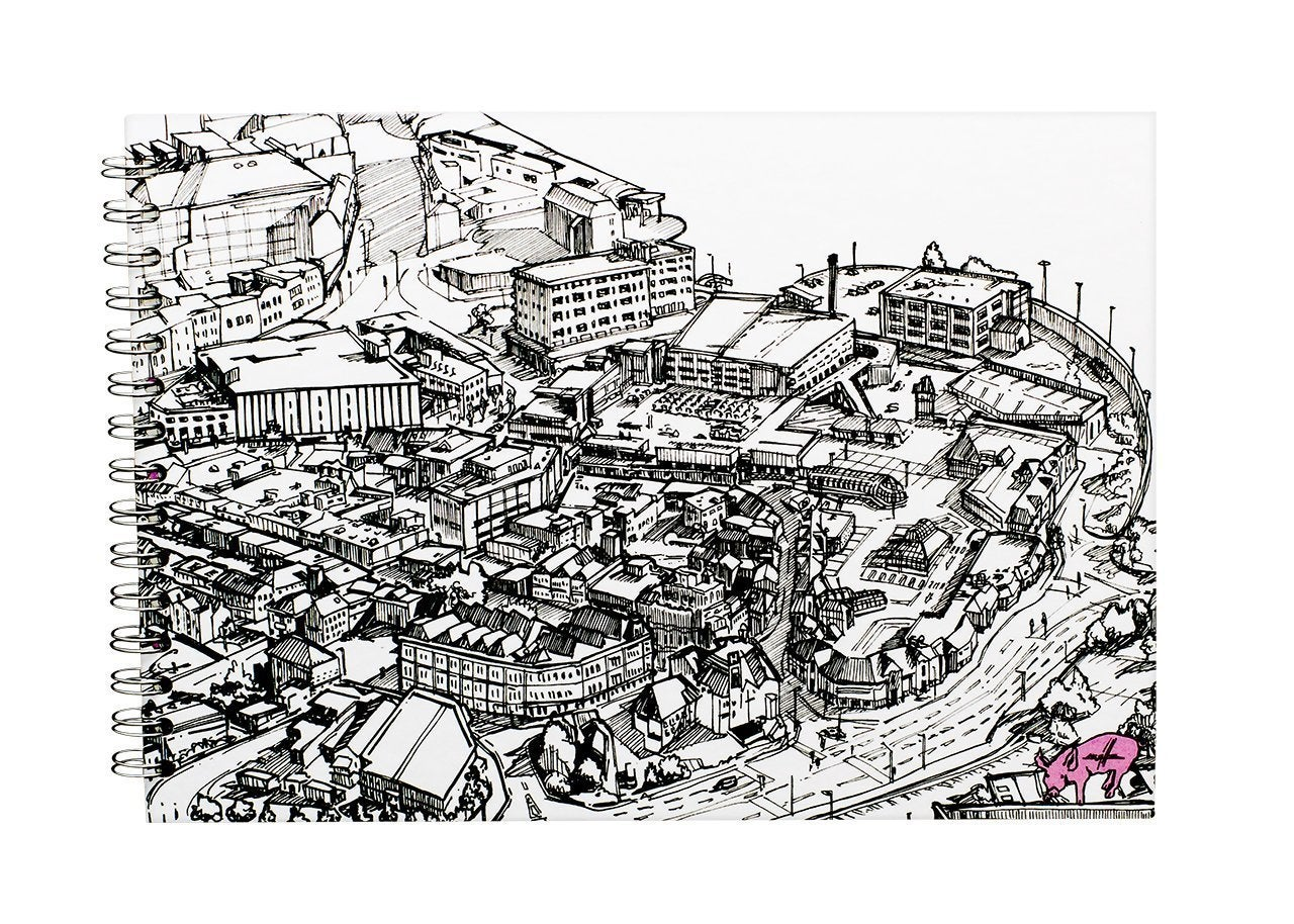 Image of Pink Pig x Kwills A4 landscape sketchbook