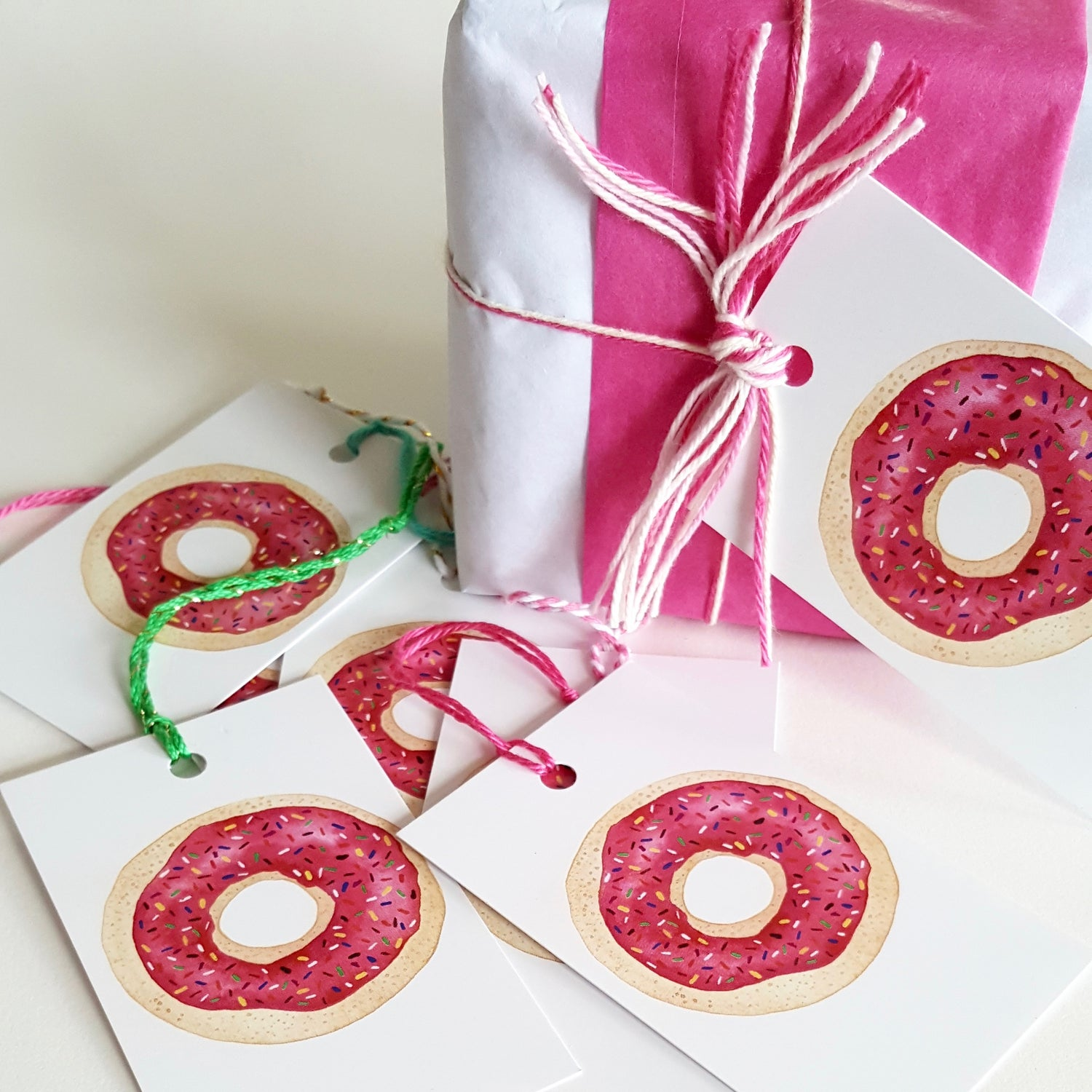 Image of sticky pink sweet stuff (6 pack) GIFT TAGS
