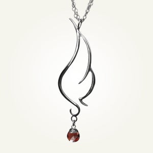 Image of Phoenix Wing Necklace with Garnet, Sterling Silver