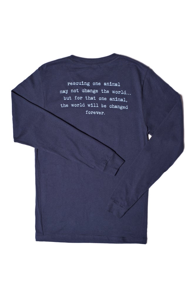 Image of navy long sleeve tiny tim tee-unisex sizing