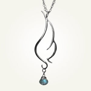 Image of Phoenix Wing Necklace with Labradorite, Sterling Silver