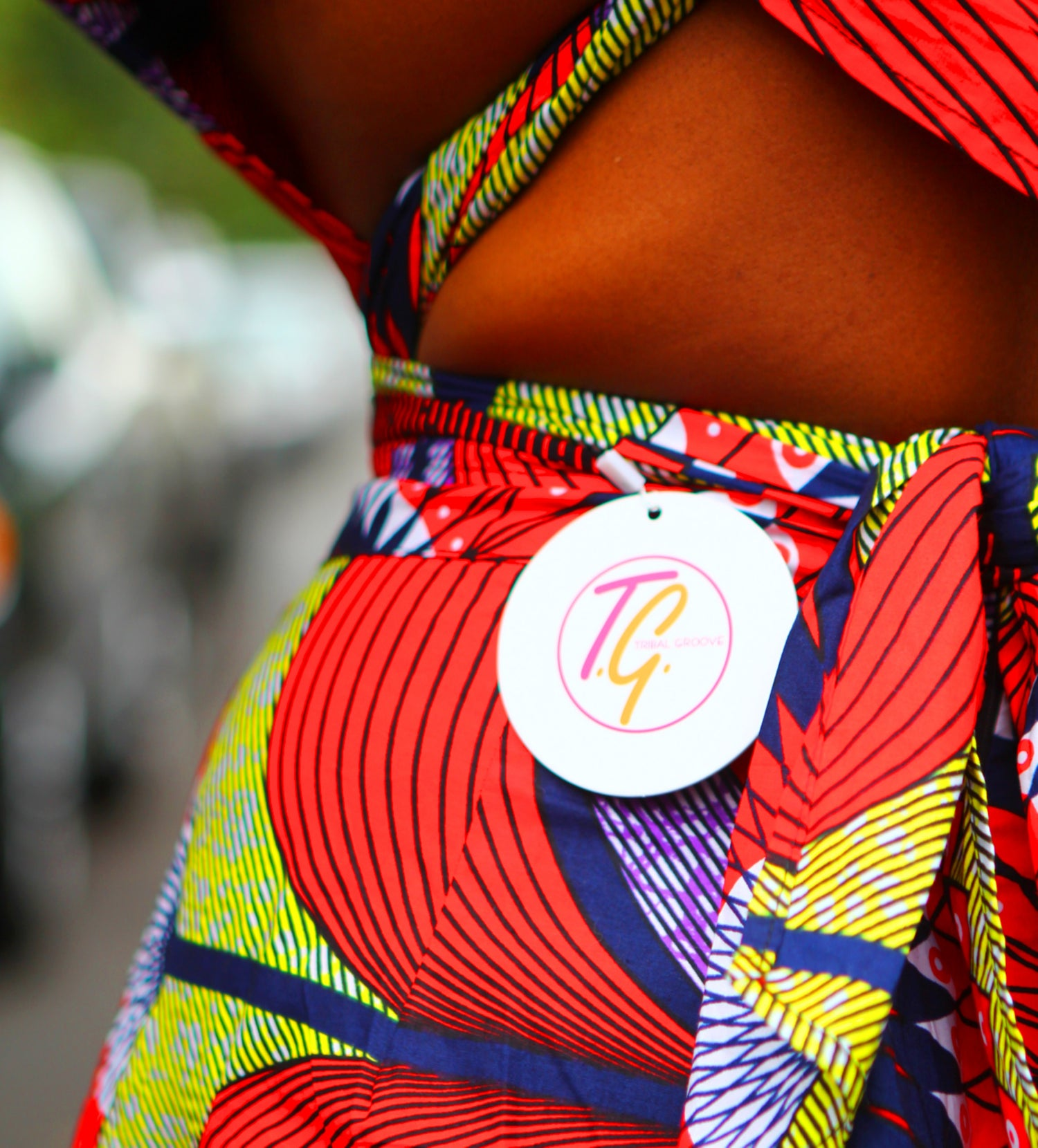 Image of KENYA - African Ankara Wax Print Wide Leg Pants Infinity Jumpsuit